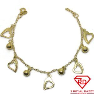 Hollow heart & Bell charm 7 inch Bracelet 999 gold